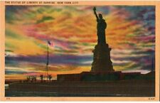 Vintage Unposted Postcard The Statue of Liberty at Sunrise New York City NY
