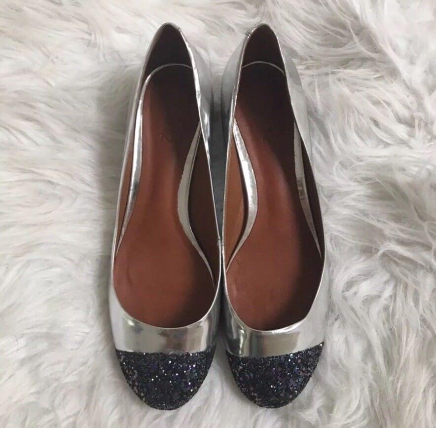 Schutz Plata Brillo Metálico Zapato de Tacón Bajo Talla 10 Caja Nuevos Sin Caja 10 b193bd