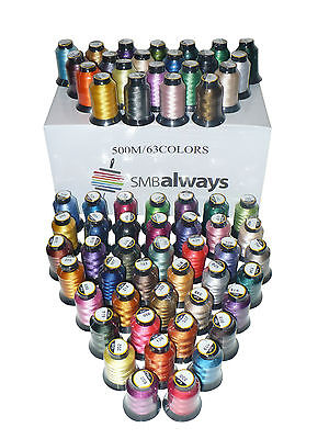 (2 pack) Polyester Embroidery Machine Thread Set - 500m each, 63 spools