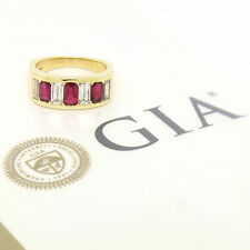 QUALITY 18K Yellow Gold 3.1ctw GIA Emerald Cut Ruby & Baguette Diamond Band Ring