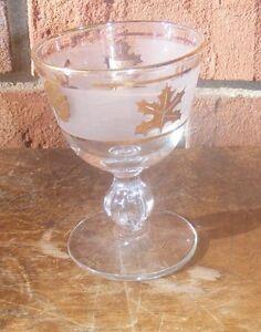 Vintage Wine Bar Frosted Gold Leaf Stemmed Glass
