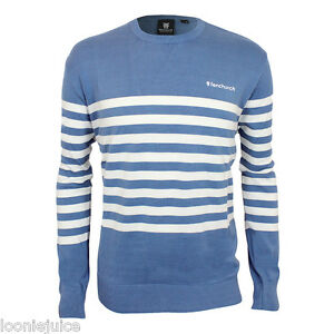 Mens-Fenchurch-Crew-Neck-Stripe-Quality-Cotton-Jumper-Blue-White-Great-Gift