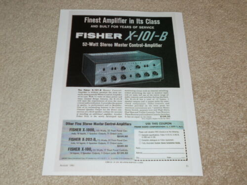 Fisher X-101-B Tube Preamp Ad 1961 Info 1 page 1 page Article
