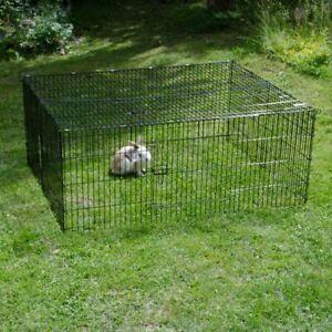 Square Rabbit Run Avec Toit En Noir Enduit En Métal 2 Tailles Idéal Jardin-afficher Le Titre D'origine Plus De Rabais Sur Les Surprises