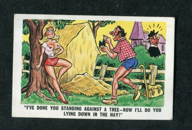 c1970s Comic: Topless Lady, Man & Vicar: Now I'll do you Lying Down in the Hay