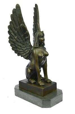 "Egyptian Sphinx Signed Original Bronze Sculpture 12/"" x 7/"""
