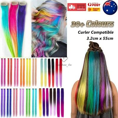 Details about  Highlight Colour Clip Hair Piece Extension Coloured Synthetic Color Make Up AUS