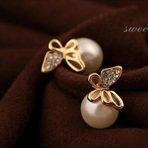 Fashion-Women-Gold-Butterfly-Pearl-Ear-Stud-Earrings-Jewelry-Crystal