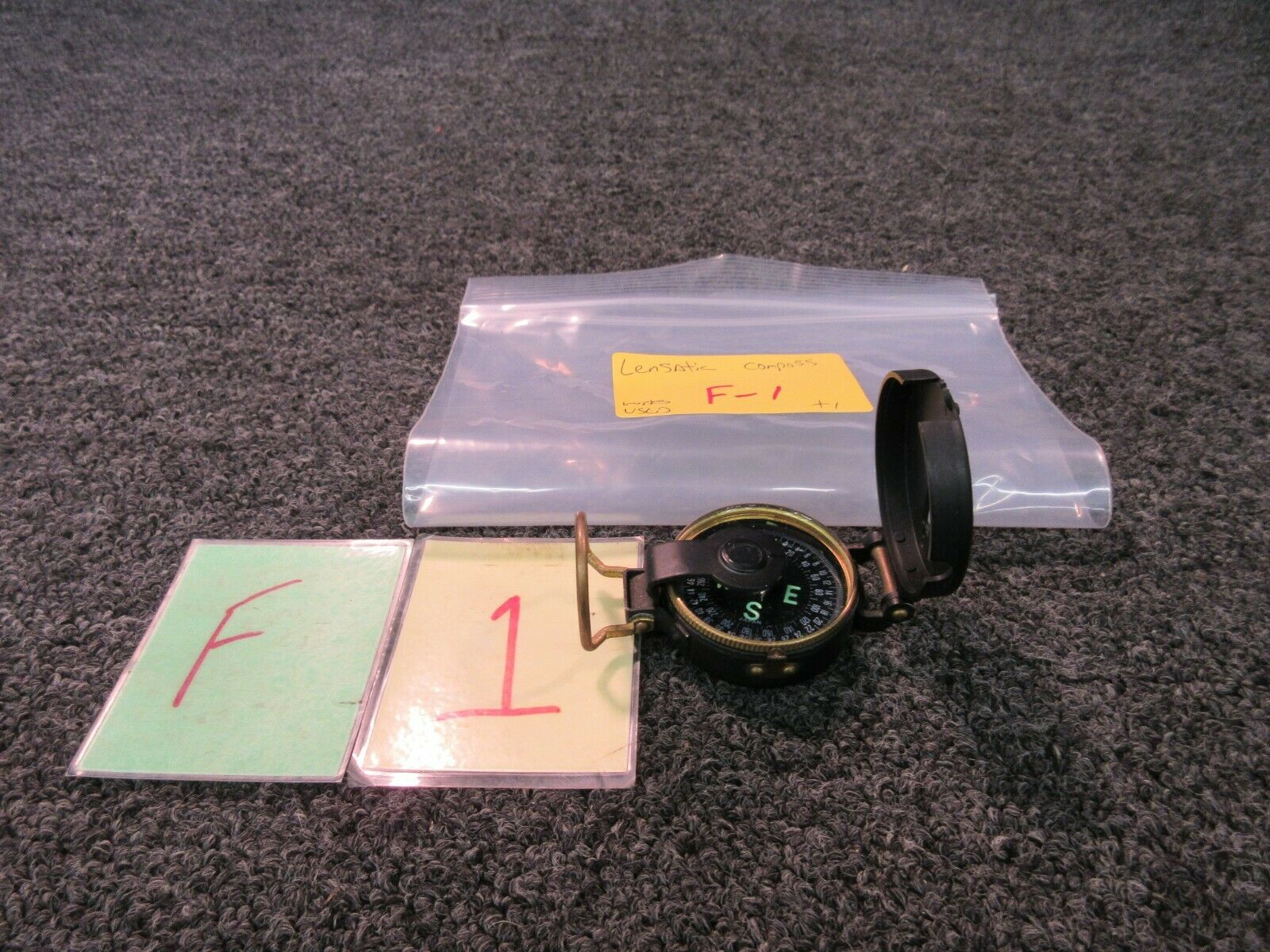 Vintage Lensatic Compass Hunting Travel Edge Mark Japan Glo In The Dark