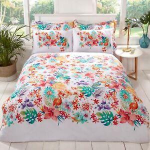 Tropical-Housse-de-Couette-King-Size-amp-Set-Taie-D-039-Oreiller-Moderne-Floral-Multi