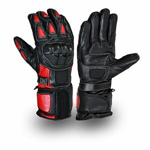 Red/Black Motorcycle Leather Cowhide Bikers Gloves