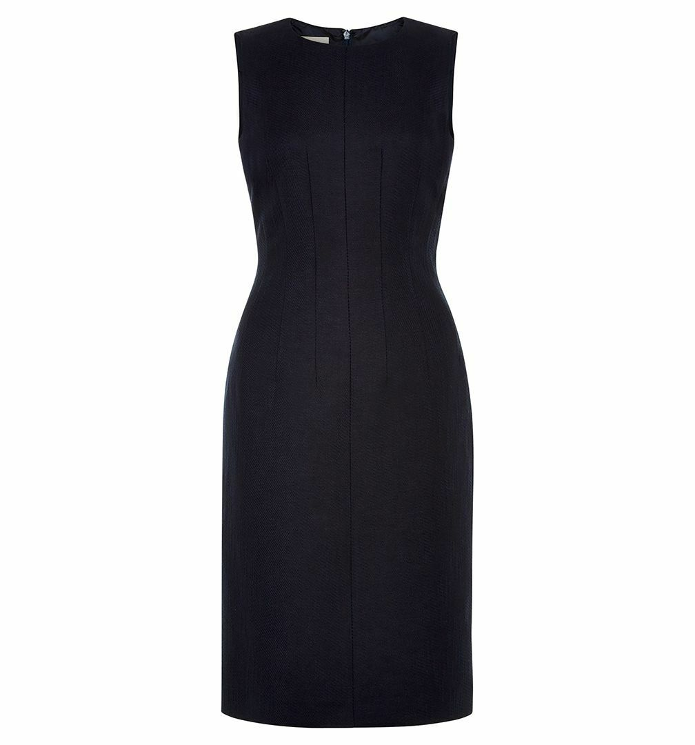 Hobbs Classic elegant Sleek Silhouette linen Analise Dress Navy UK size 8