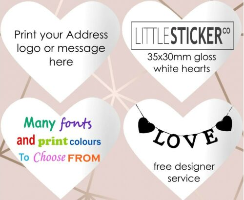 personalised white gloss Wedding labels for favours  print on heart stickers 50!