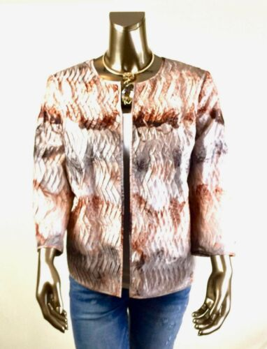 Størrelse l Pleat 2 nwt tone Brown Chico s Jacket 150 RWwqOEA7n