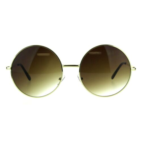 Womens Oversize Circle Round Lens Hippie Groovy Metal Rim Sunglasses