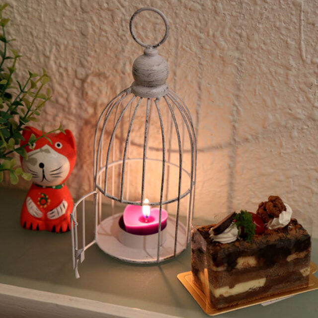 Vintage White Bird Cage Tea Light Candle Holder Candlestick Wedding Table Decor