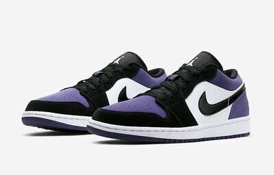Jordan Mens 553558-125 Nike Mens Air 1 Low White//Court Purple//Black 553558-125
