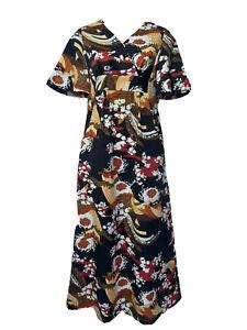 royal palm Hawaii Asian Fan Waves Floral Long Maxi dress Women's size 2