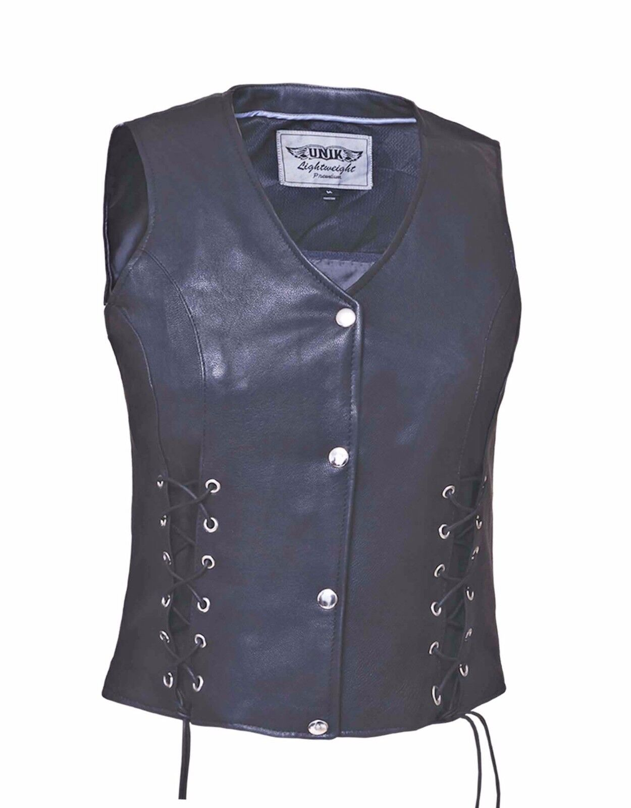 Women's Motorcycle Premium Soft Lightweight Leather Vest With Lace Front