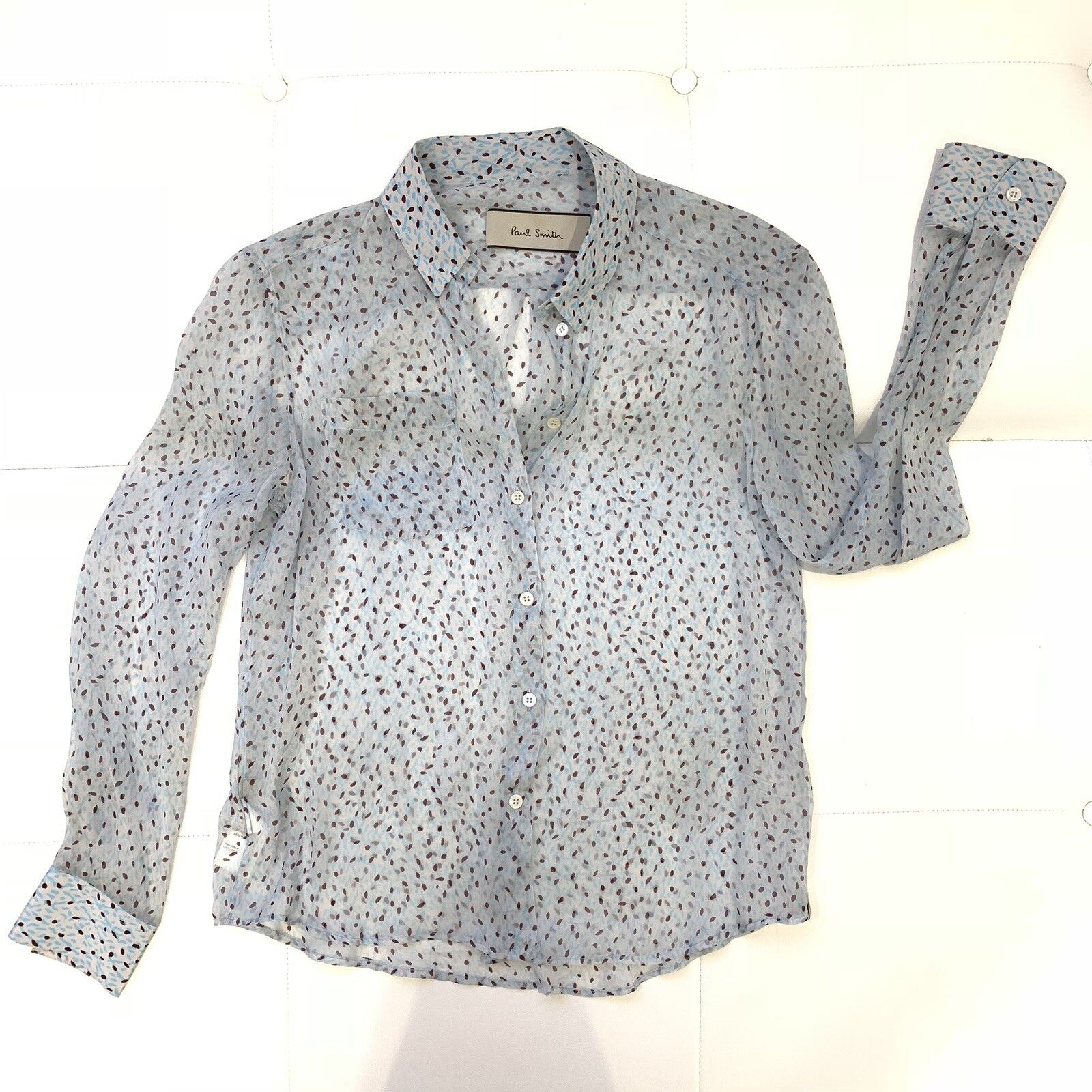 PAUL SMITH Blau Silk Sheer Blouse Sz 44