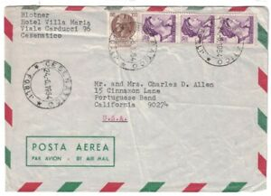 1954 ITALY Air Mail Cover - Cesenatico to Portuguese Bend, California USA FL