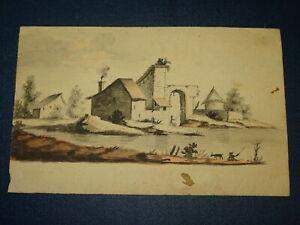 Flemish-school-landscape-watercolour-drawing-xviii-anime-pecheurs-dog-flanders-1780