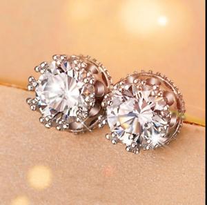 4Ct Round Cut VVS1 D Diamond Push Solitaire Stud Earrings 14K White gold Finish