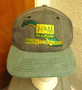 H-amp-M-RAILPLOW-baseball-hat-Brontosaurus-railroad-trains-telecom-cap-Dinosaur-logo