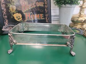 Vintage Silverplate Footed Casserole Dish Chafing Holder No Dish Rectangle