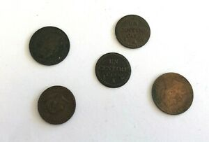 Set 5 Pieces 1 And 2 CENTIMES France REF64715