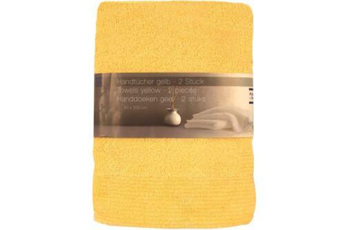 2er Pack Serviettes 100 x 50 cm jaune handtuchset 2 pièces coton doux NEUF