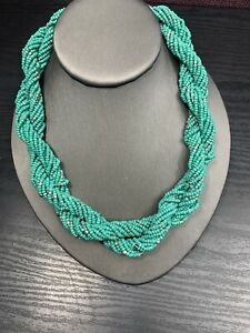 Vintage-Wide-Woven-Twisted-Turquoise-Seed-Bead-Bib-Statement-Necklace-18