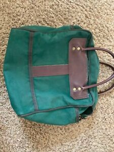 Details about Vintage Duluth Pack Green Canvas And Leather Carry On, Book Bag, Messenger Bag