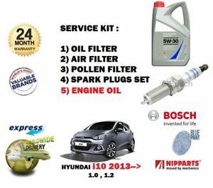 Cabin Filter Spark Plugs Genuine Hyundai I10 1.2 Service Kit Oil Air Pollen