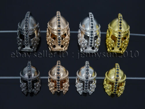 Zircon Gemstone Pave Roman Warrior Helmets Masks Bracelet Connector Charm Beads