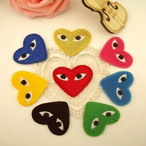Embroidered-Iron-on-CDG-PLAY-Japan-Love-Heart-Applique-COMME-DES-GARCONS-PATCH
