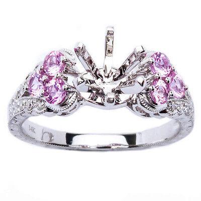.69ct Pink Sapphire & Diamond Engagement Semi Mount Engagement Wedding Ring