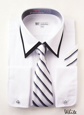 Men's dress shirt with tie and hanky,  double collar, french cuff style SG14
