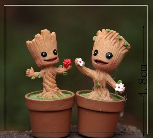 2X Groot Tree Elf Figure Fairy Garden Marvel Miniature Toy Succulent Moss Decor