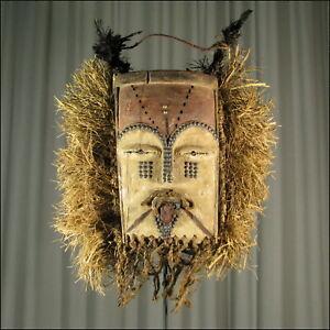 58664) Afrikanische Tsogo Holz Maske Gabun Afrika KUNST