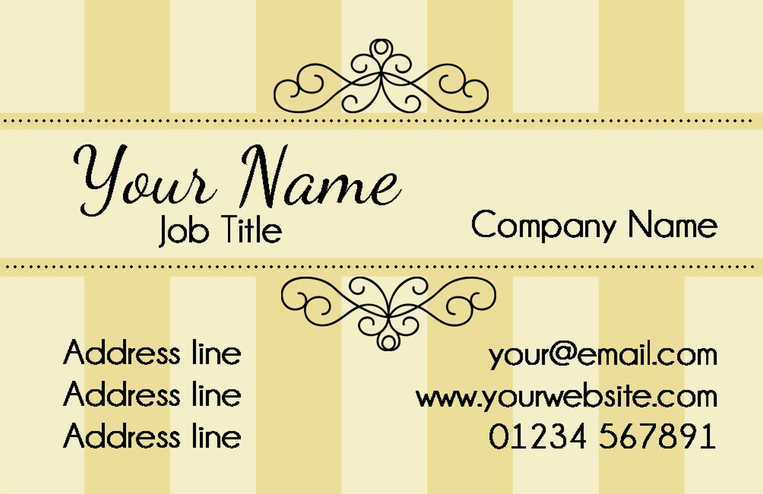 Champagne Classic Gelb Personalised Business Cards