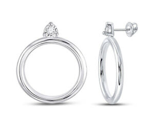 Circle Post Earrings in Sterling Silver with Accent Diamonds