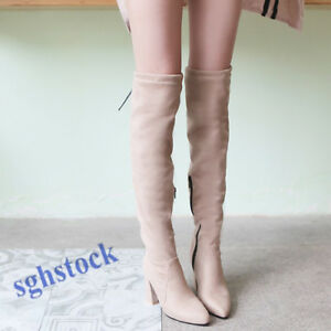 Size-US4-14-Womens-Block-Heel-Pointy-Toe-Over-Knee-High-Boots-Vintage-Fashion
