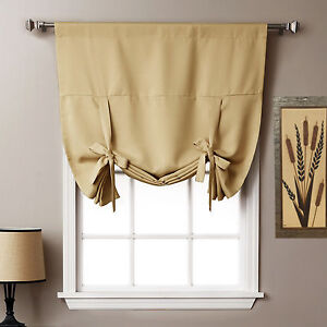 thermal insulated blackout curtain in cream tie up shade for window 40 x 64 ebay. Black Bedroom Furniture Sets. Home Design Ideas