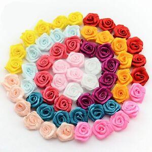 LOT-10-FLEURS-ROSE-EN-RUBAN-SATIN-15-mm-differente-couleurs-disponible