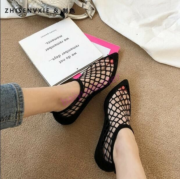 femmes Hollow Out Mesh Flats Sandals Pointy Toe Sexy Nightclub chaussures Hot Summer