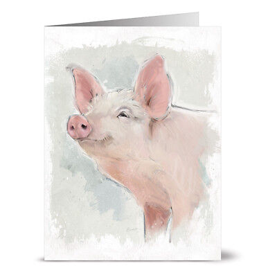 24 Note Cards Off White Ivory Envs Painted Goat