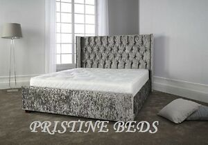 image is loading wingback bed frame chesterfield style crushed velvet hand - Wingback Bed Frame