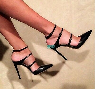womens leather pointed toe stiletto roma black pumps party