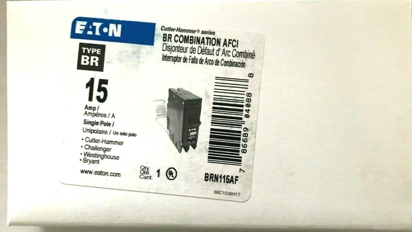 10  arco culpa Eaton Interruptor, 15A, 1P, 120 240V, 10 Ka, tipo BR